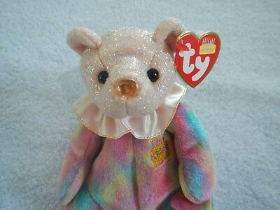 Ty Beanie Baby - October Birthday Bear  -  Birthstone Nose: Opal - Actual Photo