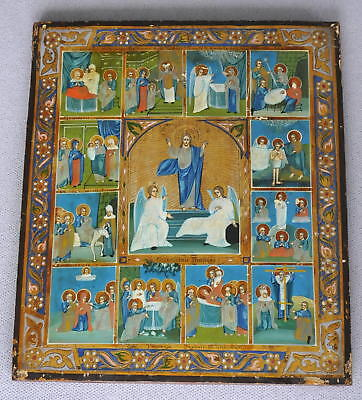 19c. RUSSIAN ROYAL IMPERIAL ORTHODOX ICON HOLY EASTER RESURRECTION CHRIST CROSS