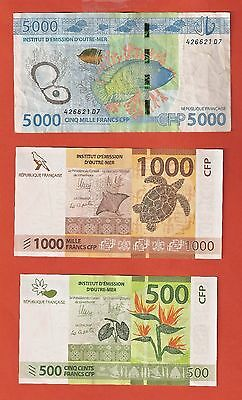 TAHITI French Pacific SET OF FRANCS 5000 1000 500 CFP Polynesia New Caledonia