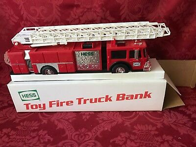 """1986 Hess Red """"toy Fire Truck Bank""""  """"new In Box""""-Mint"""