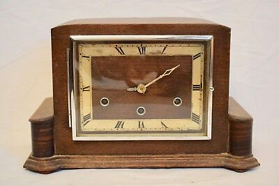 VINTAGE 1930s GERMAN OAK CASED ART DECO STYLE WESTMINSTER CHIME MANTEL CLOCK