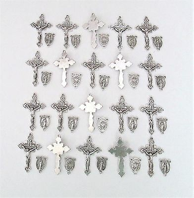 Lot 40 Rosary Crucifixes crosses & Centers rosaries part finish SILVER NEW
