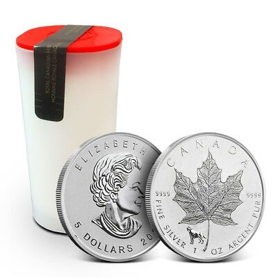 Tube of 25 - 2018 1 oz .9999 Silver Canadian Maple Leaf Lunar Dog Privy Coin BU