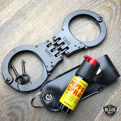 BLACK Steel Handcuffs Police Double Locking Hand Cuffs w/ 2 keys + Pepper Spray
