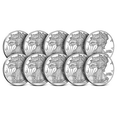 Lot of 10 - 1 oz Highland Mint (HM) .999 Fine Walking Liberty Silver Rounds