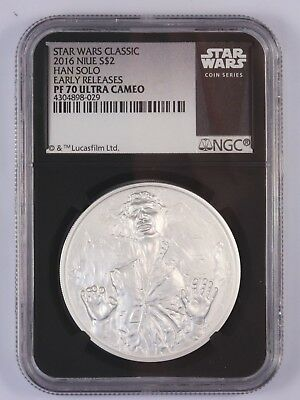Star Wars $2 Proof 1 Oz Silver Coin, 2016 Han Solo Niue Disney, NGC PF 70 UC