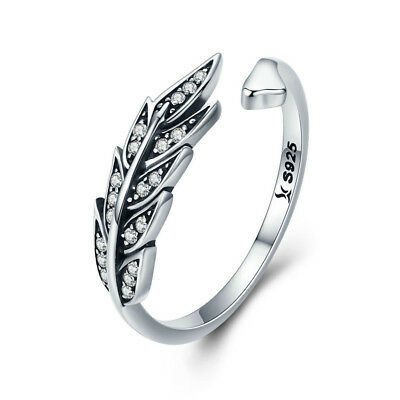 Retro 925 Sterling Silver Feather Wings Crystal CZ Adjustable Rings for Women