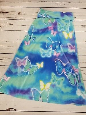 Justice Maxi Skirt Size 8 Girls Blue Butterfly Stretch Long 175