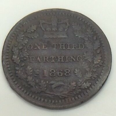 1868 Scarce Date United Kingdom One Third 1/3 Farthing Circulated Coin F524