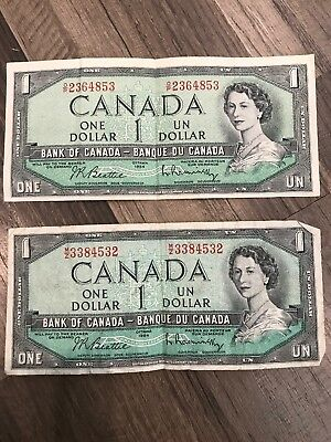 Lot Of 2 Canada Canadian Currency, Paper Money, Bank Note 1 Dollar  (2) 1954
