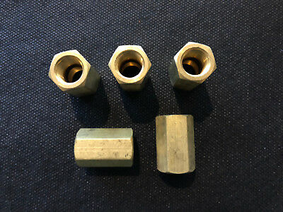 """(5) Solid Brass Hex Pipe Coupling 1/4"""" Female NPT Air Fuel Gas Water"""