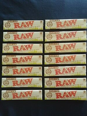 14 x Raw Organic Hemp King Size Slim Rolling Papers Natural Unrefined 110mm