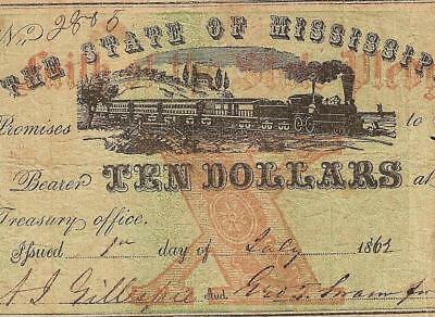 1862 $10 Dollar Faith Of The State Mississippi Note Jackson Large Paper Money