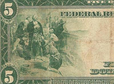 LARGE 1914 $5 DOLLAR BILL FEDERAL RESERVE NOTE BIG PAPER MONEY CURRENCY Fr 869