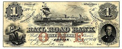 Super Ship Vignette!  $1 Erie & Kalamazoo Rr Bank