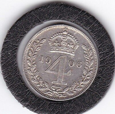 Very  Sharp  1906  King  Edward  VII  Maundy  Four  Pence  (m4d)  Silver  Coin