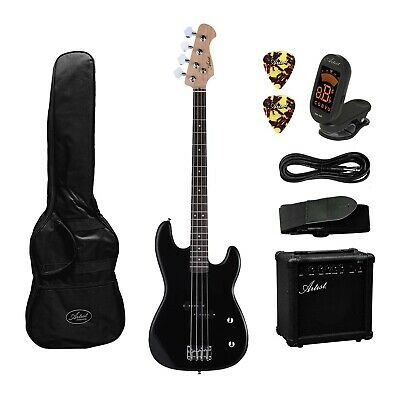 Artist PB2 Black Electric Bass Guitar + Amp and Accessories - New