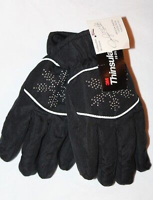 Jaclyn Smith Coldweather Thinsulate Ski Glove Women's Black Gloves Small