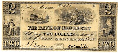 Great Train, Indian Vignettes, Scarce Bank Of Chippeway, Mi