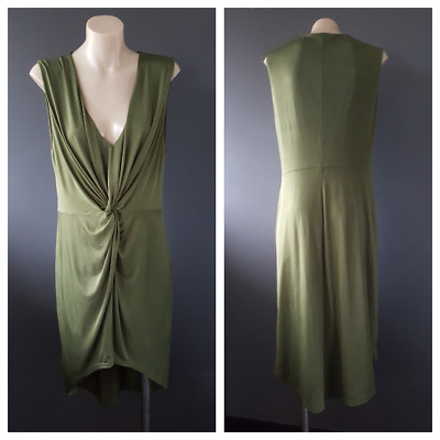 PINK STITCH Olive Green Cocktail / Party Dress With Knot Detail Size 12 AUS