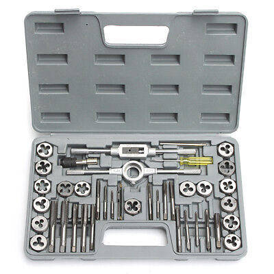 40Pcs M3-M12 Tap & Die Set Metric Tapping Threading T Handle Tap Wrench W/ Case