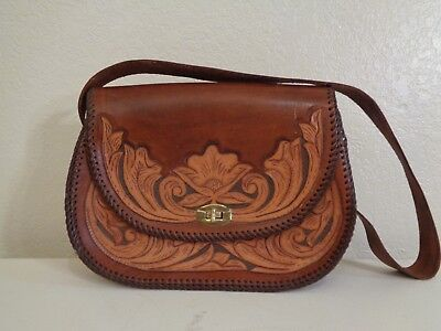 60s MEXICAN BROWN LEATHER & TAN FLORAL TOOLED LEATHER HIPPIE SADDLE BAG PURSE