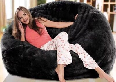 Large Luxe Black Fur Soft Plush Fur Beanbag Cover Bean Bag Chair