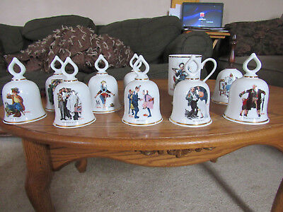The Wonderful World of Norman Rockwell Collectible Bells coffee mug 9 + piece