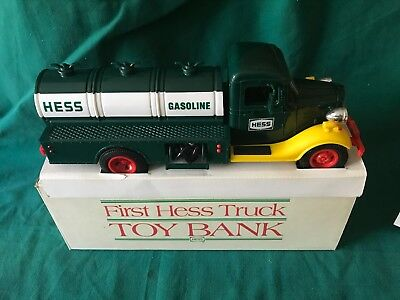"""1985 Hess """"first Hess Truck Toy Bank"""" New With Box"""