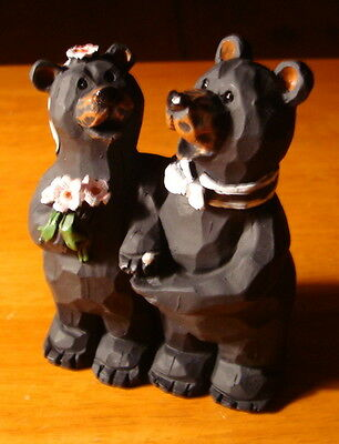 Black Bears Bride & Groom Wedding Figurine Cake Topper Lodge Log Cabin Decor NEW