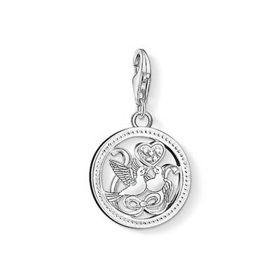 NEW Thomas Sabo Sterling Silver Love Doves Charm Pendant Birds Happy Lovers Bow