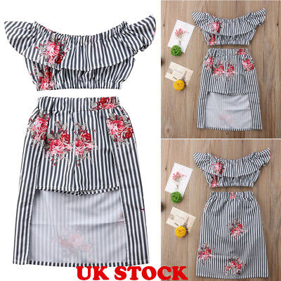 Toddler Baby Kids Girls Outfits T-shirt Tops +Pant-skirt Stripe Clothes Set