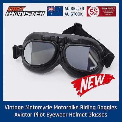 Aviation MOTORCYCLE GOGGLES TINTED LENS HARLEY DUCATI TRIUMPH BOBBER CHOPPER
