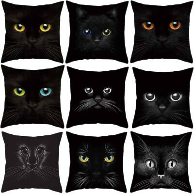 3D Cat Eyes Square Polyester Throw Pillow Case Cushion Cover Home Decor Eyeful
