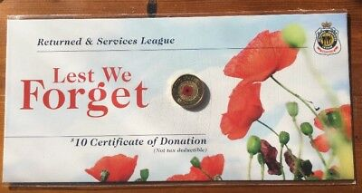 2012 $2 Rememberance Day Red Poppy Coin Unc on RSL Card - Rare Coin.