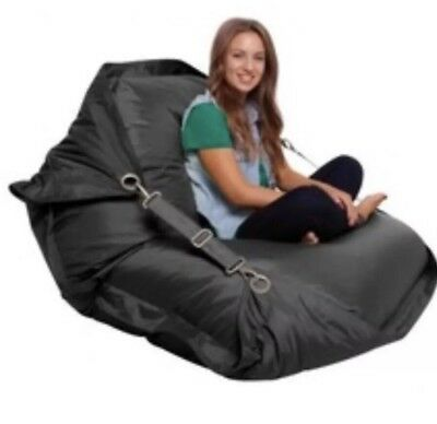BEAN BAG ~ BLACK~ Outdoor INDOOR relax Alfresco, Waterproof Cover ADJUSTABLE!!!