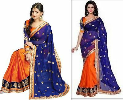 Indian New Designer Saree Wedding  Pakistani Bollywood Party wear BLOUSE Sari F2