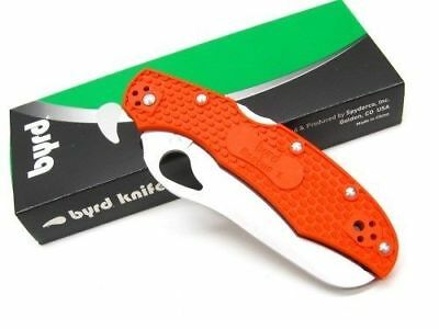 "Spyderco Byrd BY17SOR2 Cara Cara 2 Rescue Folding Knife 3.93"" Blade, Org Handles"