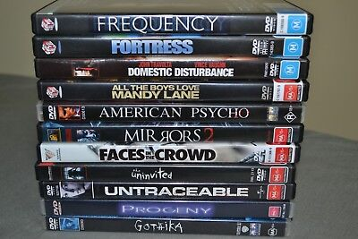Dvds Bulk- Gothica,frequency,fortress,mirrors 2, American Psycho,progeny