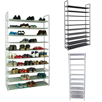 10 Tiers Shoe Rack 50 Pairs Non Woven Fabric Shoe Tower Organizer Cabinet  Black