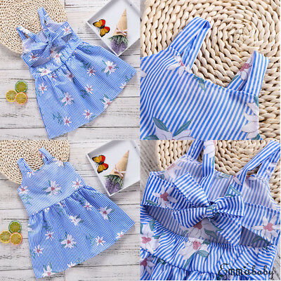 Summer Toddler Baby Kids Girls Ruffle Striped Dress Party Sundress Clothes