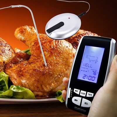Remote Wireless Digital Thermometer LCD BBQ Grill Meat Kitchen Oven Food Cooking