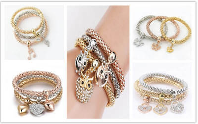 3Pcs Women Fashion Gold Silver Rose Gold Bracelets Set Rhinestone Bangle Jewelry
