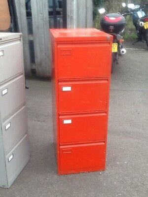 Roneo Vickers Foolscap Red Metal 4-drawer Filing Cabinet