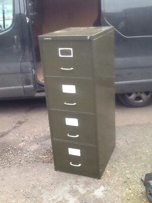 Roneo Vickers Green Metal Foolscap 4-drawer Filing Cabinet