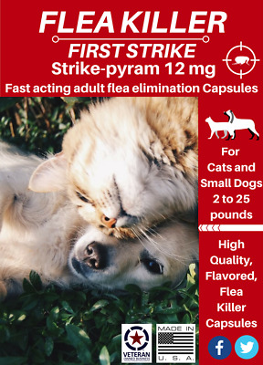 24 capsules Quick results Flea killer flavored capsules 12mg Small Dogs and Cats