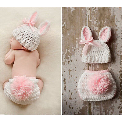 Newborn Infant Baby Crochet Knit Photo Photography Costume Prop Outfit Bunny AU