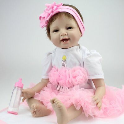 "Reborn Baby Dolls 22"" Newborn Girl Soft Silicone Real Life Dolls Birthday Gift"