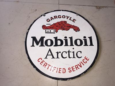 """Mobiloil Arctic Porcelain Sign 16"""" inches Pre-Owned"""