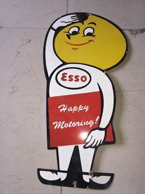"""Porcelain ESSO BOY HAPPY MORNING Sign Size 12"""" x 24"""" Inches Pre-Owned"""